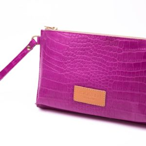 Fuschia snake pattern leather compact clutch 39e8b0d12aba3